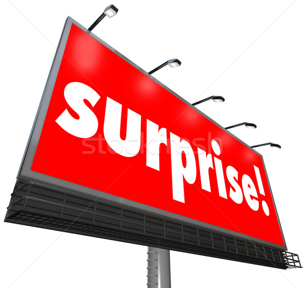 Surprise Red Billboard Banner Advertisement Shocking Discovery Stock photo © iqoncept