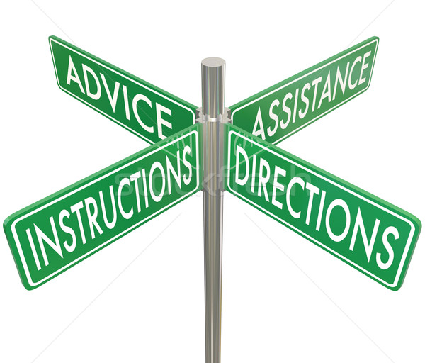 Instructions Directions Advice Assistance Four 4 Way Intersectio Stock photo © iqoncept