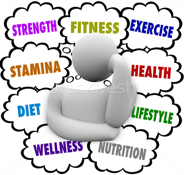 Fitness Words Person Thinking Exercise Diet Wellness Plan Stock photo © iqoncept