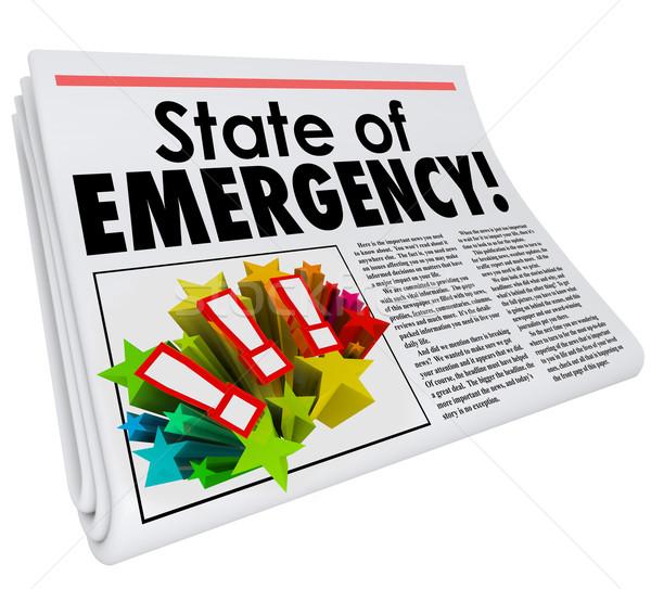 Foto stock: Emergência · jornal · manchete · topo · história · grande