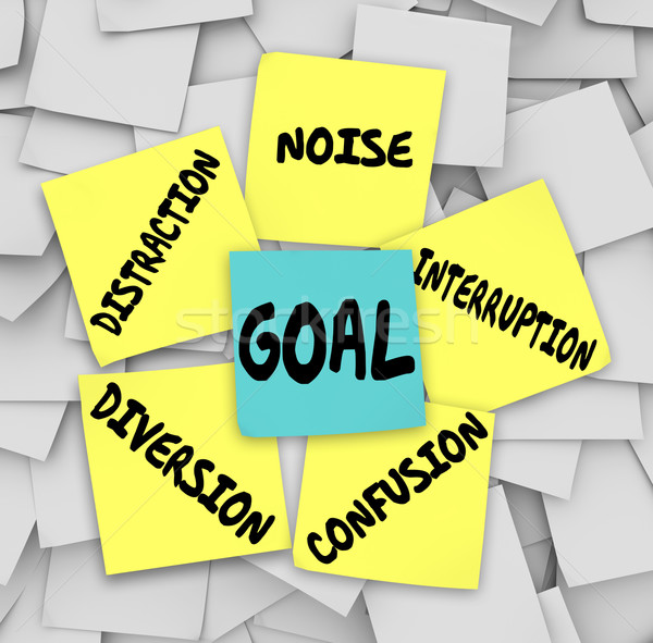 Goal Distraction Diversion Noise Interruption Confusion Sticky N Stock photo © iqoncept