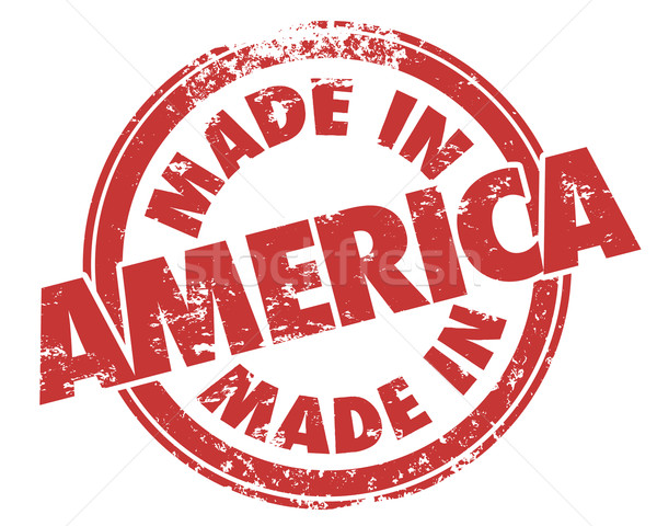 Made in America Round Red Grunge Stamp USA Manufactured Product Stock photo © iqoncept