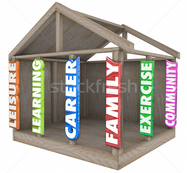 Family Career Learning Leisure Exercise Community Strong Foundat Stock photo © iqoncept