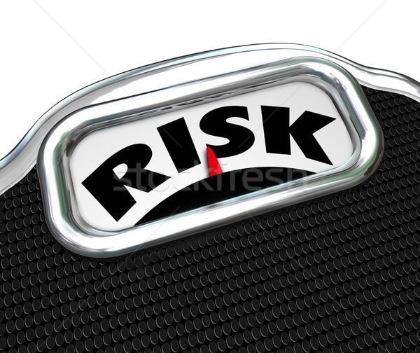 Risiko Wort Maßstab Übergewicht Fettleibigkeit Krankheit Stock foto © iqoncept