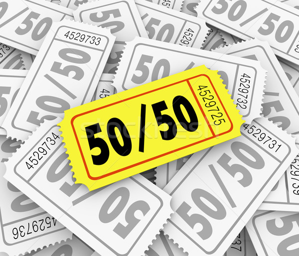 50-Fifty Raffle Tickets Pile Fundraiser Charity Contest Winner Stock photo © iqoncept
