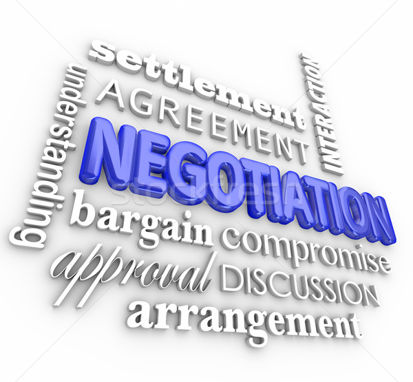 Negotiation Compromise Settlement Agreement Word Collage Truce D Stock photo © iqoncept