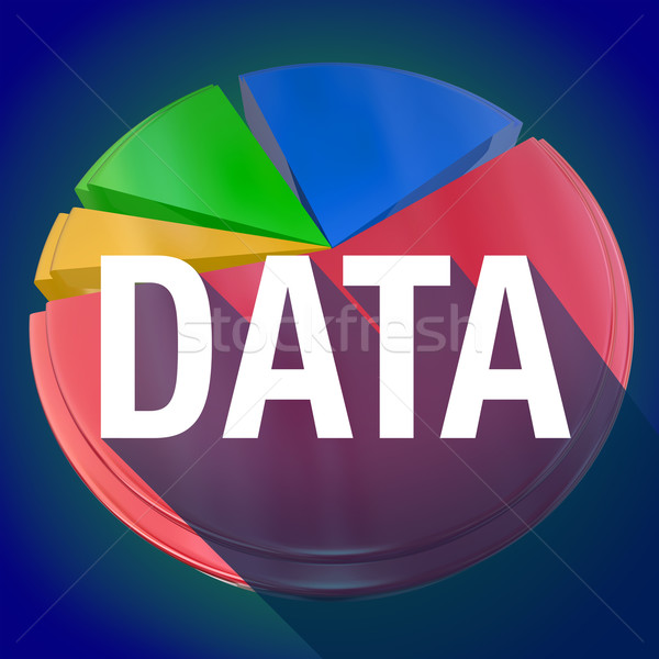 Data Pie Chart Word Long Shadow Statistics Information Stock photo © iqoncept