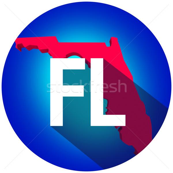 Флорида письма аббревиатура красный 3D карта Сток-фото © iqoncept