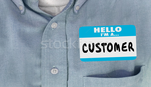 Hello Im a Customer Name Tag Sticker Shirt Words 3d Illustration Stock photo © iqoncept