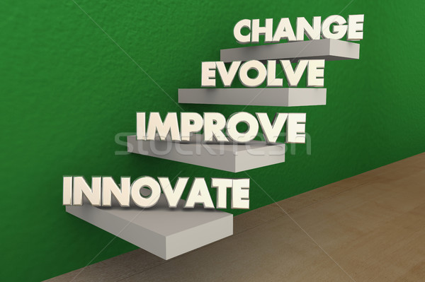Innovate Improve Evolve Change Steps 3d Illustration Stock photo © iqoncept
