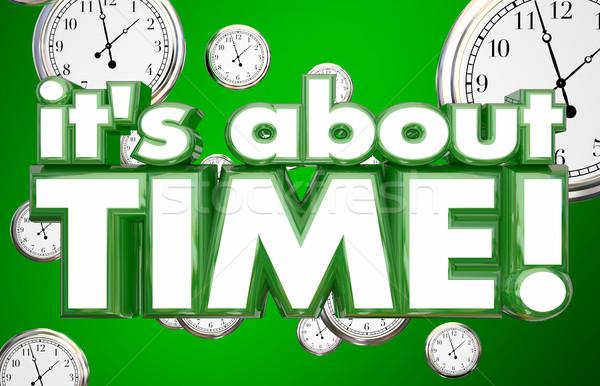 Tempo orologi parole urgenza illustrazione 3d clock Foto d'archivio © iqoncept