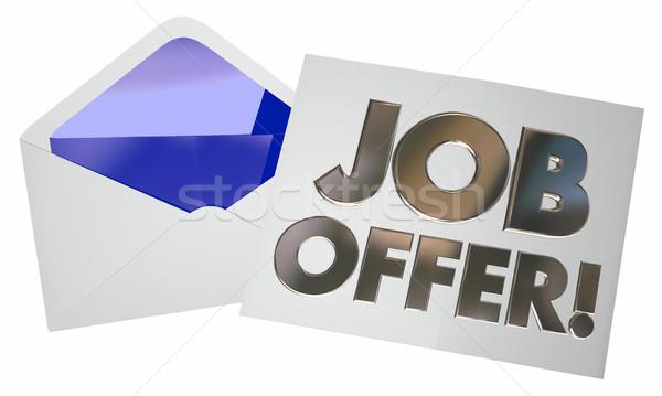 Job Offer Envelope Letter Note Opening New Career 3d Illustratio Stock photo © iqoncept