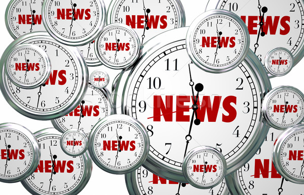 News Around the Clock Time Flying Word 3d Illustration Stock photo © iqoncept