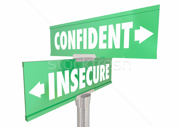 Confident Vs Insecure Sure Confidence Signs 3d Illustration Stock photo © iqoncept