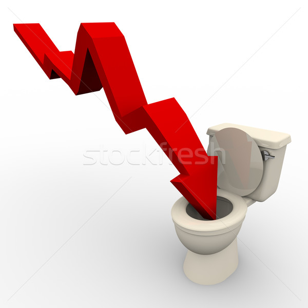 Arrow Plunging Down into the Toilet Stock photo © iqoncept