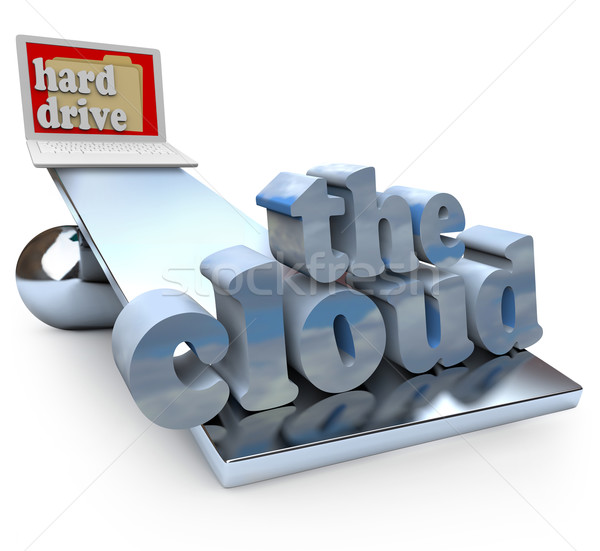 The Cloud vs Computer Hard Drive - Local or Network File Storage Stock photo © iqoncept