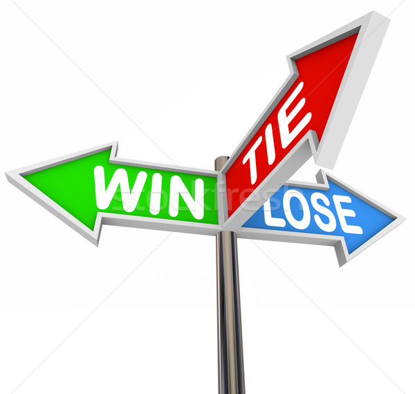 Win Lose Tie Three Arrow Signs Competition Game Stock photo © iqoncept