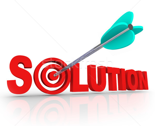 Solution Word 3D Letters Solved Problem Arrow Target Bulls-Eye Stock photo © iqoncept