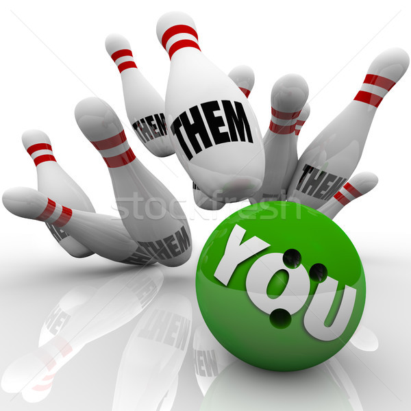 You Vs Them Bowling Balls Win Competition Game Stock photo © iqoncept