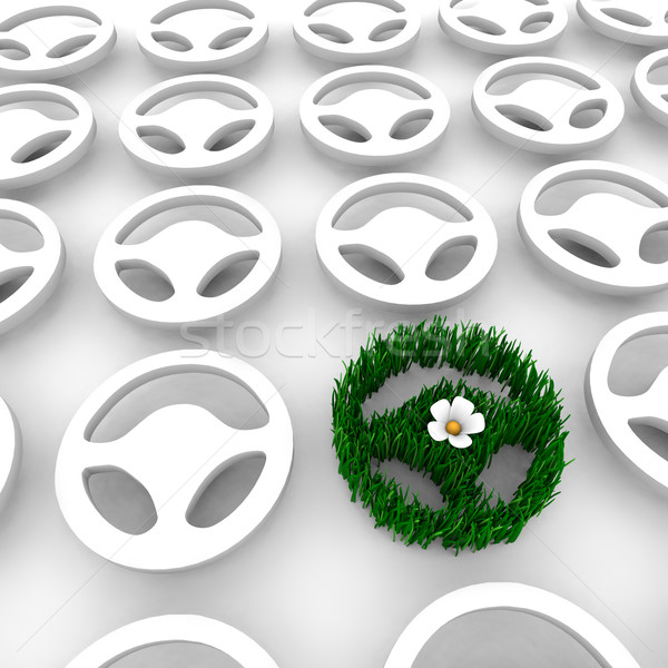 Green Car Steering Wheel AMong Many Others Stock photo © iqoncept