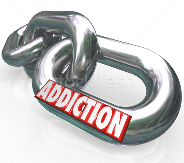 Addiction Chain Links Word Addict Trapped in Disease Stock photo © iqoncept