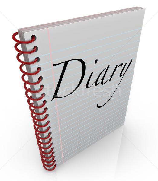 Dagboek spiraal tijdschrift notebook papier woord Stockfoto © iqoncept