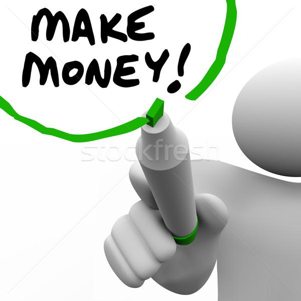Make Money Man Writing Words Teaching Success to Get Rich Stock photo © iqoncept