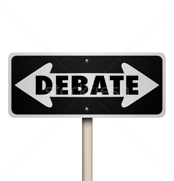 Debate 2 Two Way Road Street Sign Choose Side Stock photo © iqoncept