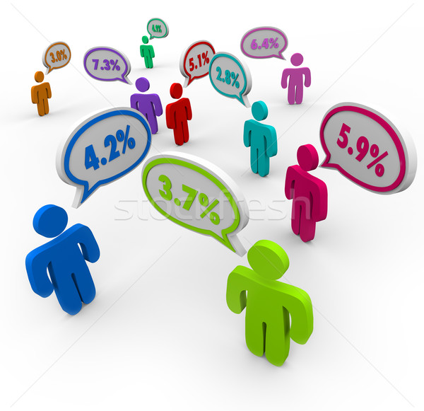 Percent Numbers Interest Rates People Talking Comparing Best Off Stock photo © iqoncept