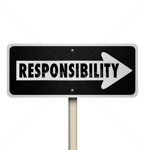 Stock photo: Responsibility Passing Job Duty Work Delegate One Way Sign