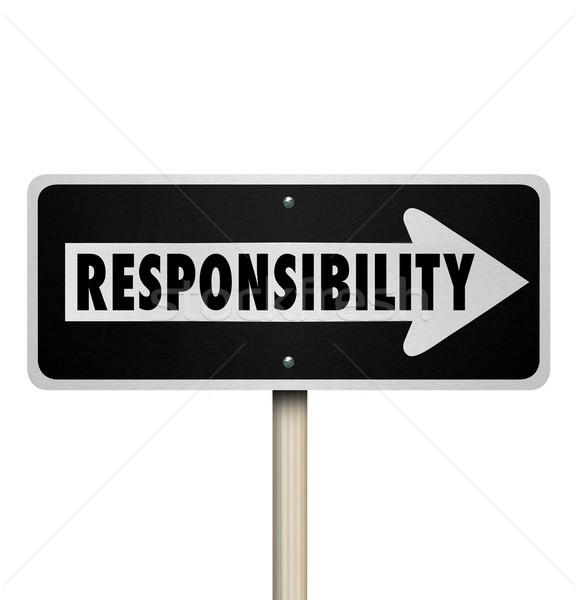 Felelősség állás kötelesség munka egyirányú utca szó Stock fotó © iqoncept