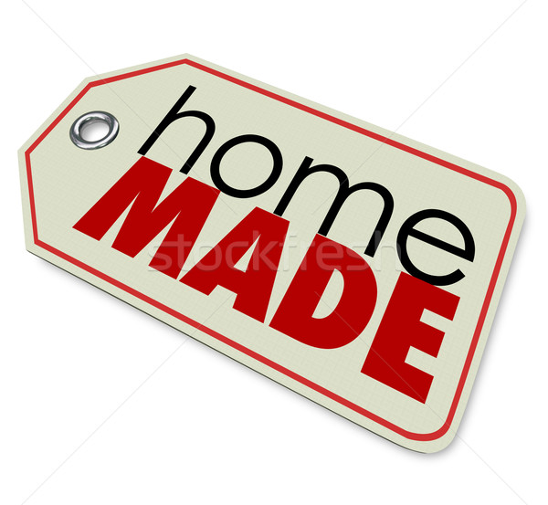 Home Made Words Price Tag Authentic Hand Crafted Products Stock photo © iqoncept