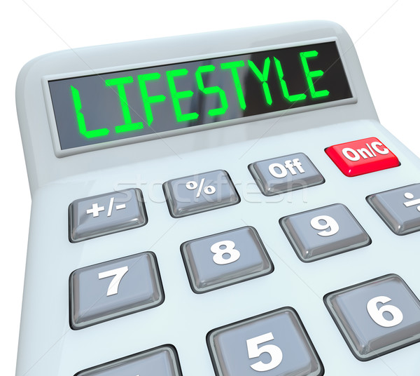 Lifestyle woord calculator cijfer budget Stockfoto © iqoncept