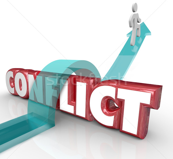 Avoid Conflict Arrow Over Word No Confrtonation Battle Disagreem Stock photo © iqoncept