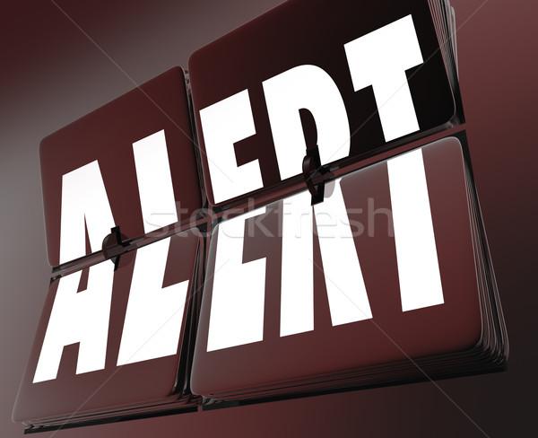 Alertar palavra relógio azulejos lembrete alarme Foto stock © iqoncept