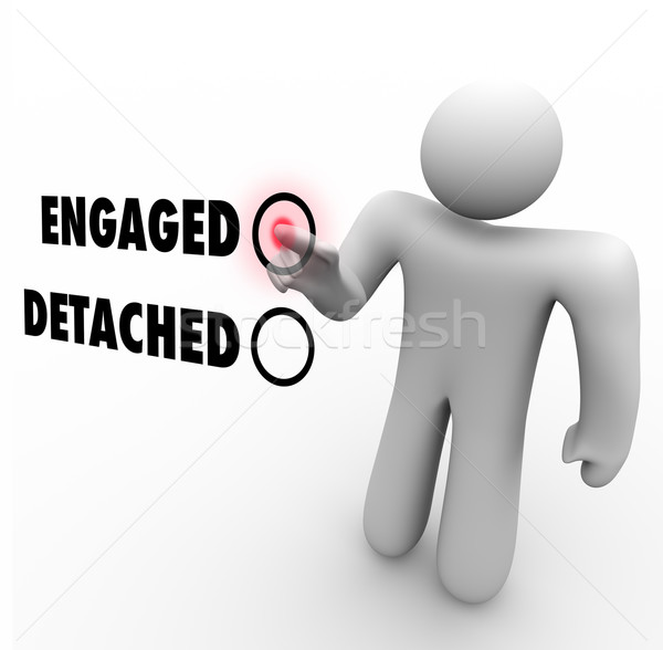 Engaged Vs Detached Person Choosing Interaction Attitude Stock photo © iqoncept
