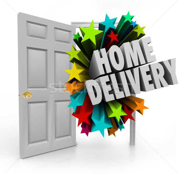 Home Delivery Open Door Package Shipment Arrival Special Service Stock photo © iqoncept