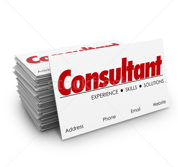 Consultant Business Cards Expertise Knowledge Skills Hiring Prof Stock photo © iqoncept