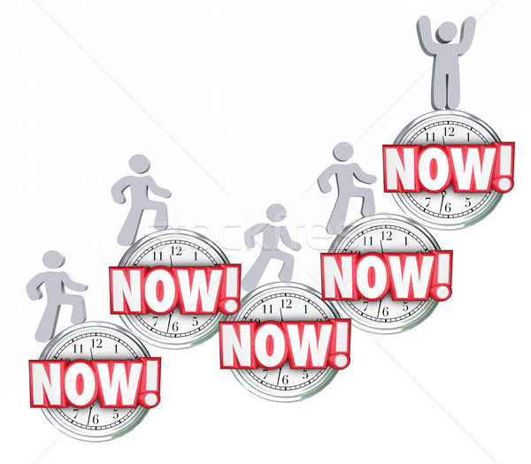 Now People Clocks Fast Response Urgent Action Needed Critical Em Stock photo © iqoncept