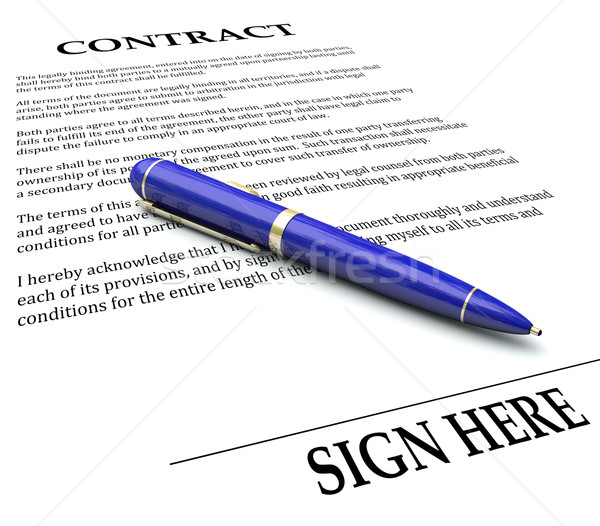 Contract Pen Sign Here Line Legal Agreement Document Signing Nam Stock photo © iqoncept