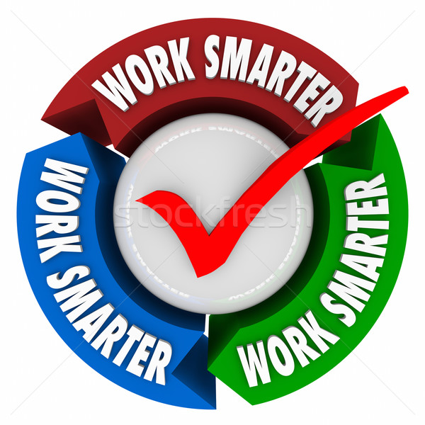 Work Smarter Check Mark Instructions Workflow Improve Process Sy Stock photo © iqoncept