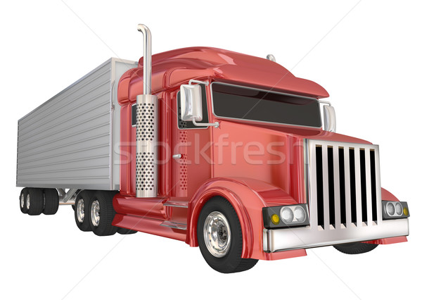 Red Semi Truck 18 Wheeler Big Rig Hauler Stock photo © iqoncept