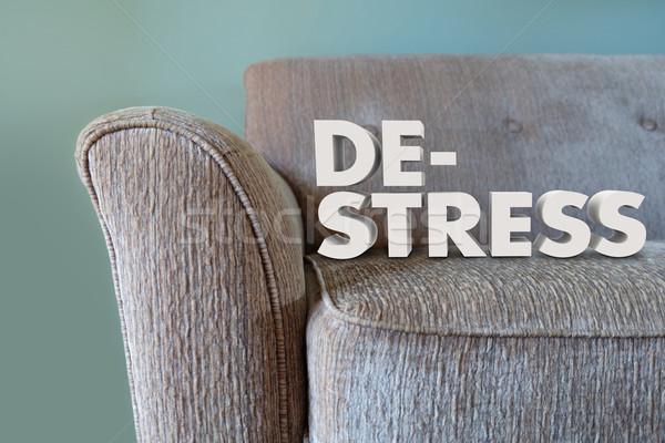De-Stress 3d Words Couch Mind Body Unwinding Stock photo © iqoncept