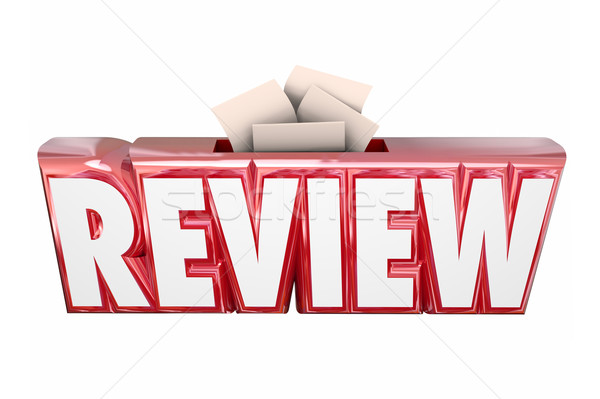 Review 3d Word Collection Suggestion Score Card Box Stock photo © iqoncept