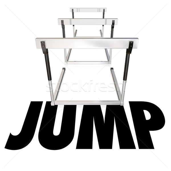 Jump Hurdles Avoid Overcome Risk Danger Challenge Determination Stock photo © iqoncept