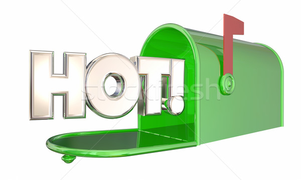 Hot News Message Popular Product Mailbox Word 3d Illustration Stock photo © iqoncept