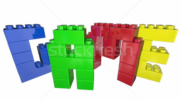 Game Toy Blocks Play Together Fun Word 3d Illustration Stock photo © iqoncept