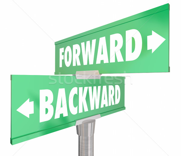 Forward Vs Backward Two Way 2 Road Signs 3d Illustration Stock photo © iqoncept