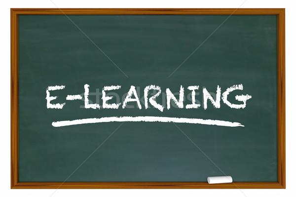 Online oktatás oktatás online képzés tábla szó Stock fotó © iqoncept