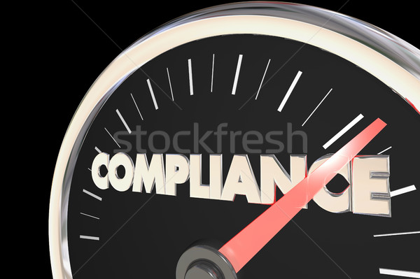 Compliance Speedometer Fast Action Follow Laws Rules 3d Illustra Stock photo © iqoncept